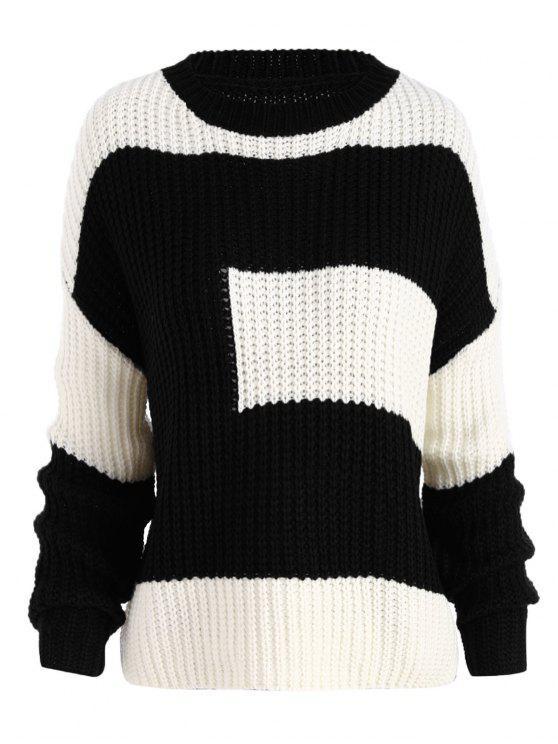 Más tamaño color bloque chunky novio suéter - Negro Única Talla