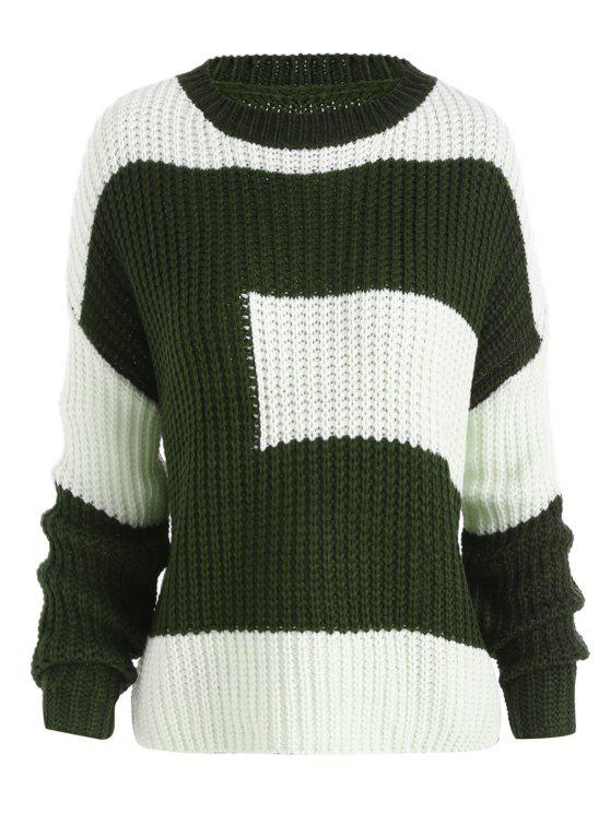 ladies Plus Size Color Block Chunky Boyfriend Sweater - BLACKISH GREEN ONE SIZE