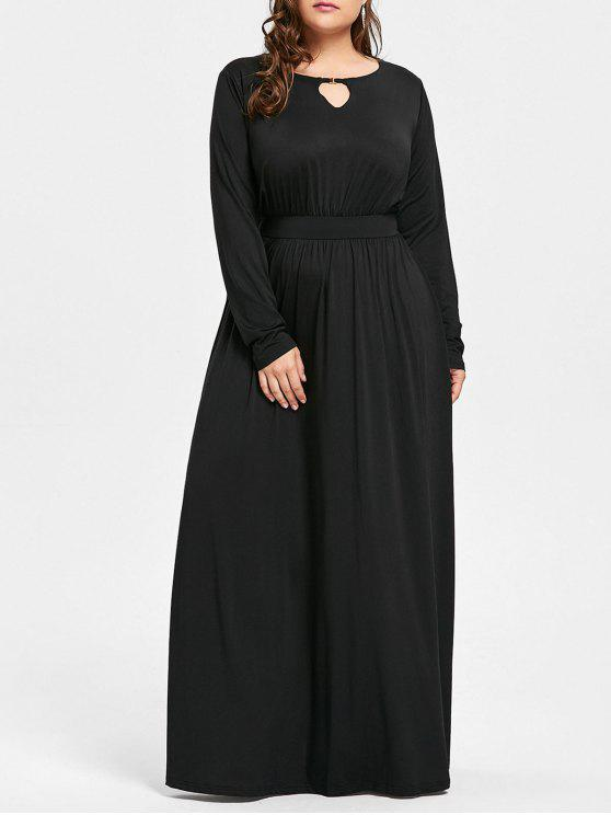 268afa8b9e2 26% OFF  2019 Plus Size Keyhole Maxi Dress In BLACK