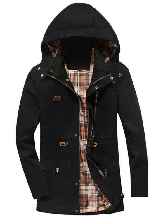 unique Drawstring Hooded Field Jacket - BLACK L
