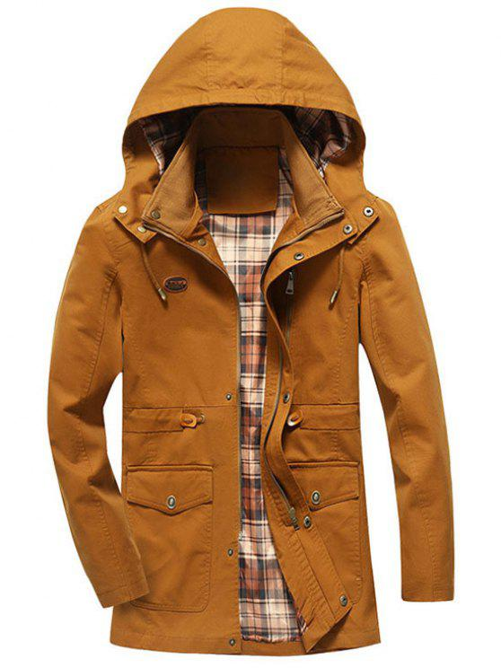 lady Drawstring Hooded Field Jacket - YELLOW 3XL