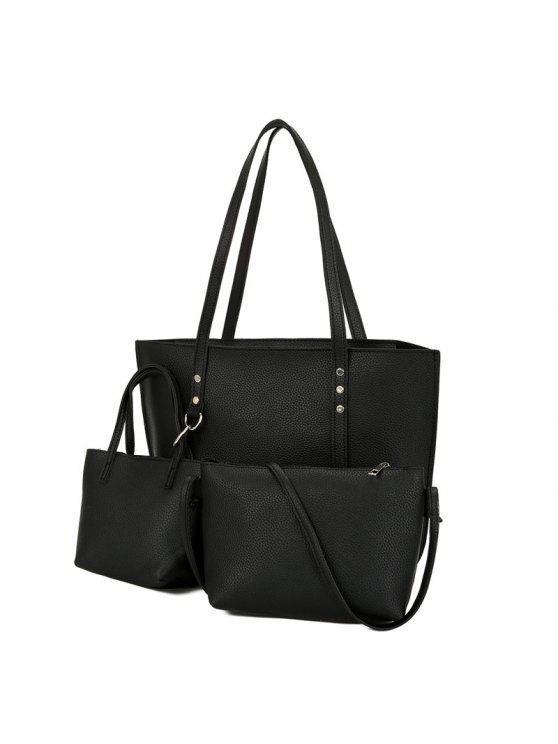 طقم حقيبة كتف من 3 قطع من الجلد المزيف - أسود