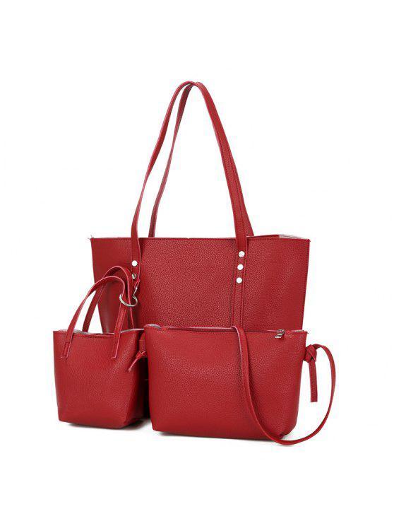 طقم حقيبة كتف من 3 قطع من الجلد المزيف - أحمر