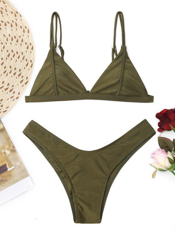 shop Cami High Cut Thong Bikini Set - ARMY GREEN XS