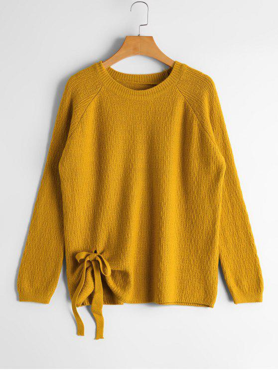 hot Raglan Sleeve Bowknot Sweater - YELLOW ONE SIZE