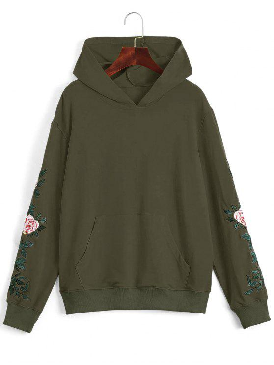 shops Floral Patched Front Pocket Hoodie - ARMY GREEN S