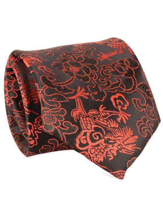 8 سنتيمتر عرض الجاكار الزهور نمط ربطة العنق - أسود أحمر