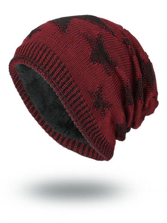 قبعة صغيرة في الهواء الطلق نجوم نمط يتدفقون محبوك - نبيذ أحمر