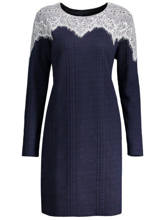 فستان مزين بالدانتيل ذو أكمام طويلة - ازرق غامق 5XL