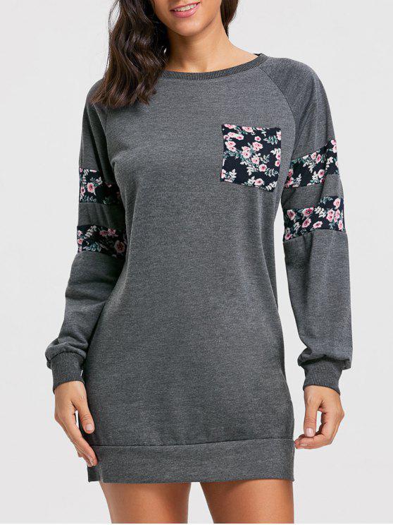 2019 Crew Neck Floral Print Mini Sweatshirt Dress In DEEP GRAY XL ... c007c0f01