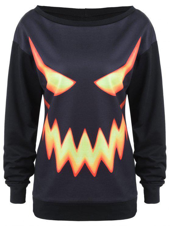 crew neck pumpkin face halloween costume sweatshirt
