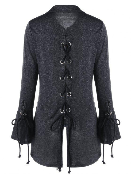 shops Marled Flare Sleeve Lace Up Top - DARK GREY XL