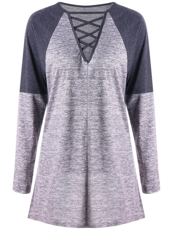 Criss Cruz de Contraste Color manga larga Top - Gris 2XL