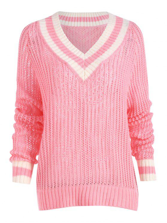 2019 Plus Size Chunky Knit High Low Tennis Sweater In Pink 3xl Zaful