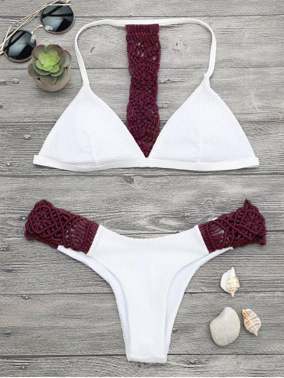 Gepolstertes Macrame Fishnet Bikini Set - Weinrot M