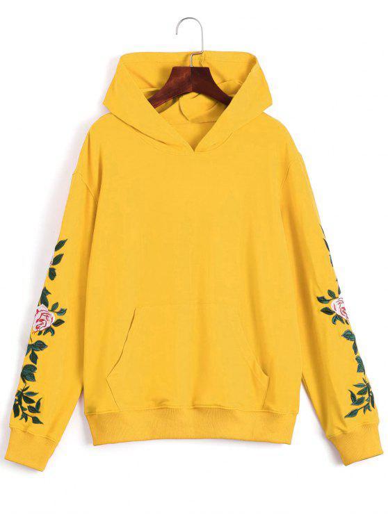 Sudadera con capucha de bolsillo delantera con parche floral - Amarillo L