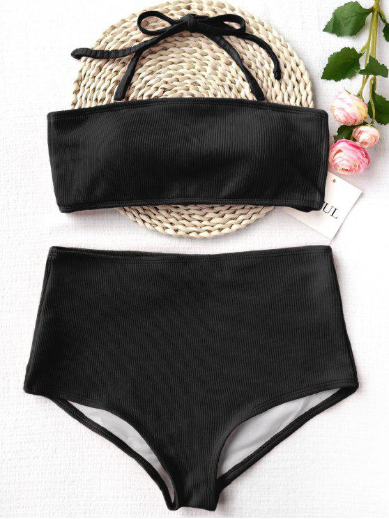 online Ribbed Texture Bandeau High Waisted Bikini - BLACK M