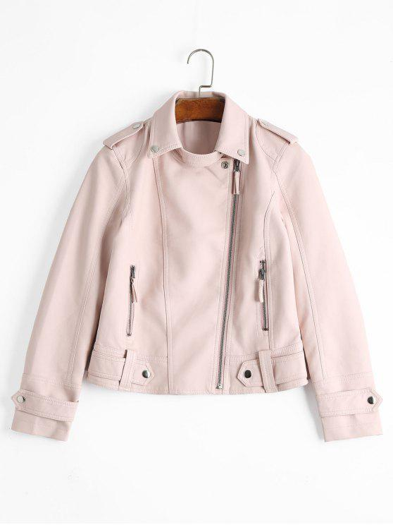 Zipper Pockets Faux Leather Jacket - Rosa Claro M