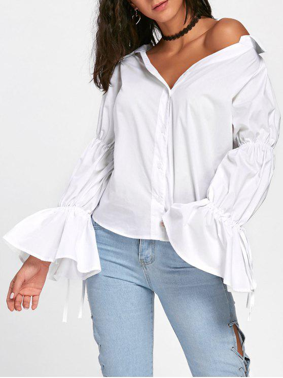 affordable Oversized Convertible Bell Sleeve Shirt - WHITE L