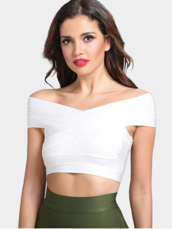 2018 Off The Shoulder Bandage Crop Top In WHITE S
