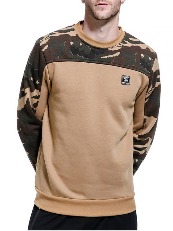 camouflage panel applique fleece pullover sweatshirt khaki. Black Bedroom Furniture Sets. Home Design Ideas