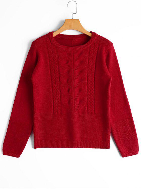 Pull en Maille Torsadée à Applique à Noeud Papillon - Rouge Taille Unique