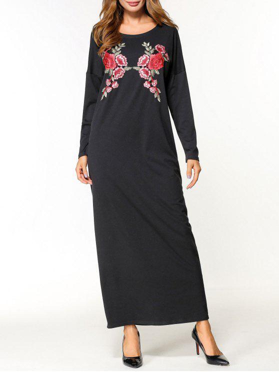Robe Longue à Applique Floral - Noir 2XL