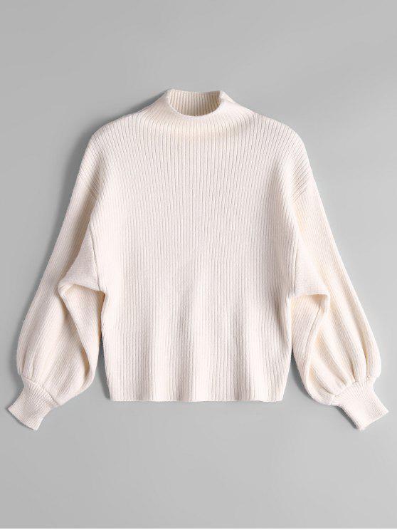 Suéter de cuello alto con manga linterna - Blancuzco Única Talla