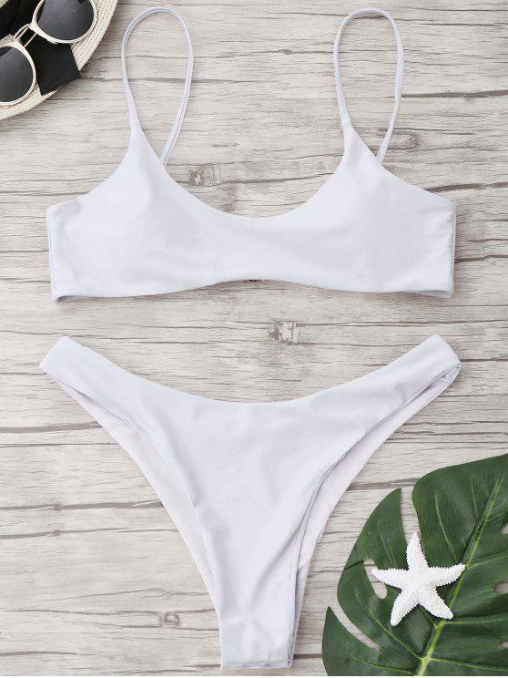 lady High Cut Scoop Thong Bikini Set - WHITE M