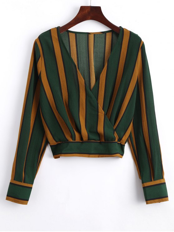 best Elastic Hem Crossed Front Stripes Blouse - STRIPE L