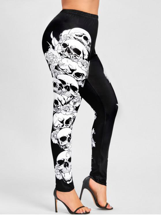 outfit Plus Size Halloween Monochrome Skulls Leggings - BLACK XL