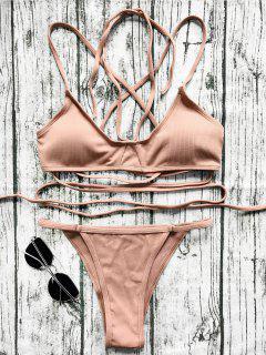 V String Bralette Bikini Set - Laterite S