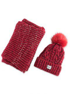 Hemp Flower Knit Pom Hat And Scarf - Red