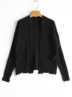 Pockets Distressed Open Front Cardigan - Black