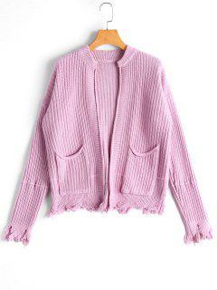 Pockets Distressed Open Front Cardigan - Light Purple