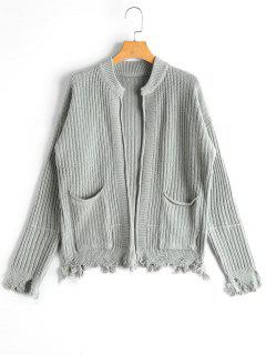 Pockets Distressed Open Front Cardigan - Light Green