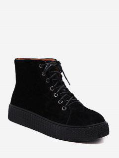 Tie Up Faux Suede Ankle Boots - Black 38