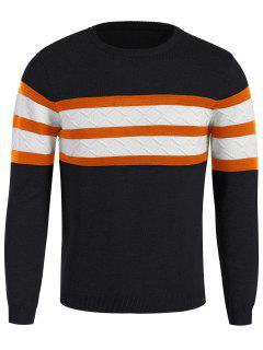 Stripe Crew Neck Sweater - Purplish Blue M