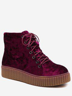 Tie Up Faux Suede Ankle Boots - Wine Red 40