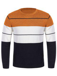 Mens Crew Neck Color Block Sweater - Orange M