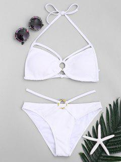 Ringe Strappy Halter Bikini Set - Weiß S