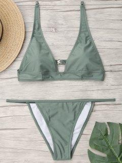 Plunging Neck Bralette Thong Bikini Set - Light Green M