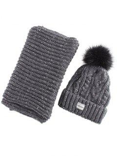 Hemp Flower Knit Pom Hat And Scarf - Black Grey