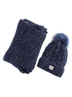 Hemp Flower Knit Pom Hat And Scarf - Purplish Blue