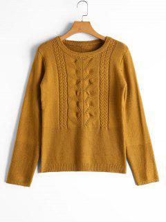 Cable Knit Panel Bowknot Applique Sweater - Light Coffee