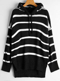 Oversized High Low Stripes Hooded Sweater - Black