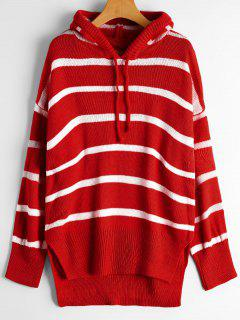 Oversized High Low Stripes Hooded Sweater - Red
