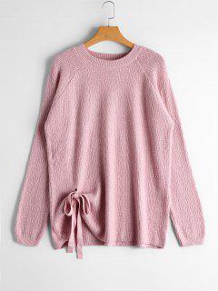 Raglan Sleeve Bowknot Sweater - Pink