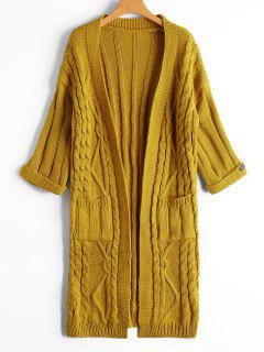 Cable Knit Open Front Cardigan With Pockets - Yellow