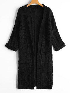 Cable Knit Open Front Cardigan With Pockets - Black
